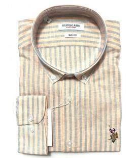U.S. Polo Erkek Gömlek G081SZ004.000.849503 Çizgili Turuncu Gömlek