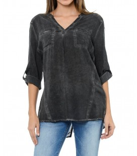 Mavi Bluz Denim Look 120580-900 Blouse Wıth Pockets Black