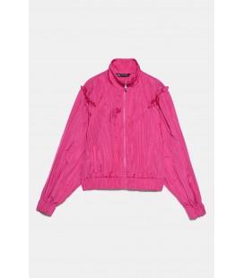 Zara Kadın Fırfırlı Pilili Ceket Fuşya 2922/400