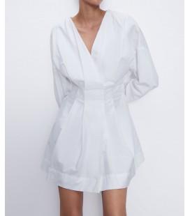 Zara Kadın Kruvaze Beyaz Kadın Elbise 2236/202/250