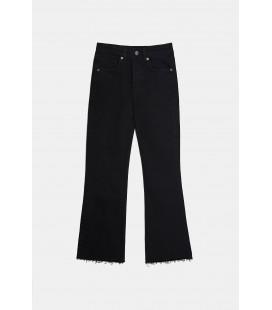 Zara Kadın Siyah İspanyol Paça Orta Bel Jean Pantolon 3643/014