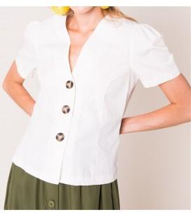 Bsl Düğme Detaylı V Yaka Bol Omuzlu Gömlek Beyaz 12315