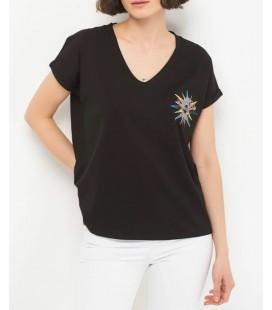 Mavi Kadın V Yaka Baskılı Siyah T-Shirt 167954-900