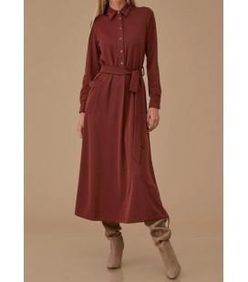 Kayra Düğme ve Büzgülü Örme Kadın Pardesü Elbise Tarçın KA-A9-23026