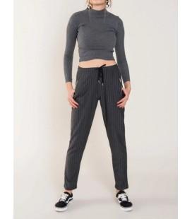Bsl Kadın Penye Çizgili Pantolon Antrasit 13000