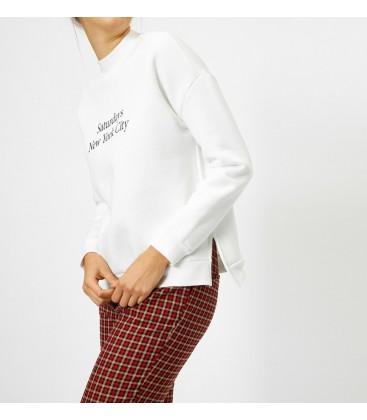 Koton Yazılı Baskılı Kadın Sweatshirt  Ekru 0KAL18453IK001