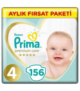 Prima Premium Care 4 Beden Bebek Bezi 156 Adet Maxi Aylık Fırsat Paketi