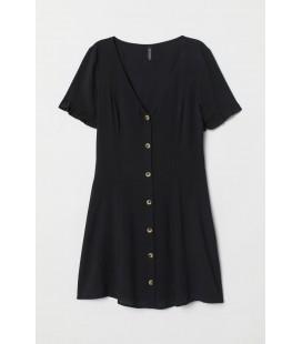 H&M Kadın V Yakalı Viskoz Siyah Elbise 0721744002