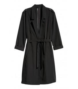 H&M Kadın Siyah İnce Trençkot 0555432001