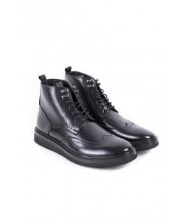 Lufian Drew Erkek Siyah Deri Ayakkabı 112230032