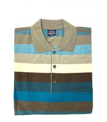 Color Colucci Erkek Örme Polo Yaka Tişört Haki Mavi
