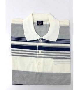 Color Colucci Erkek Örme Polo Yaka Tişört Krem Rengi Gri