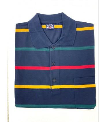 Color Colucci Erkek Örme Polo Yaka Tişört Lacivert Sarı Çizgili