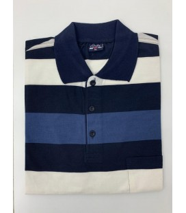 Color Colucci Erkek Örme Polo Yaka Tişört Lacivert Beyaz Çizgili