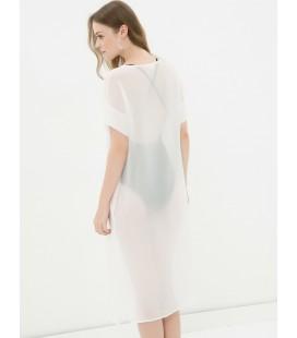 Koton V Yaka Transparan Elbise - Beyaz 6YAK88451GW000