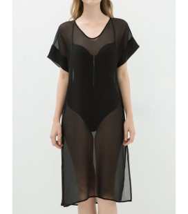 Koton Kısa Kollu Transparan Elbise - Siyah 6YAK88451GW999