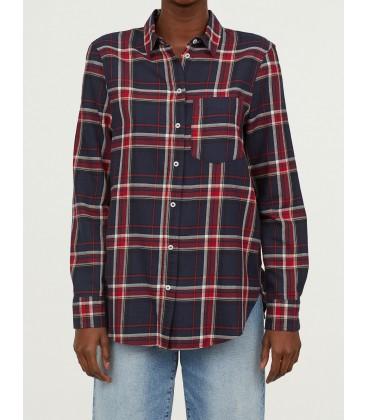H&M Kareli Kadın Gömlek 0626816001 Bordo Lacivert