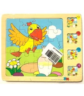 Ahşap Puzzle Kuş ve Çiçek