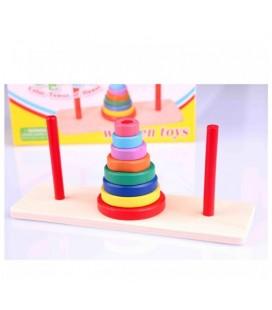Wooden Toys Renkli Mini Ahşap Hanoi Kuleleri