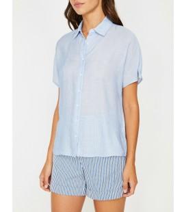Koton Kadın Lacivert Çizgili Bayan Klasik Yaka Gömlek 8YAK62165CW55M