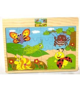 24 Parça Puzzle Böcekler
