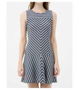 Koton Kadın Beyaz Çizgili Elbise 6YAK82800UK