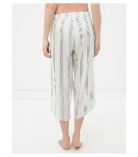 Koton Kadın Çizgili Plaj Pantolonu Beyaz 6YAK48997BW05U