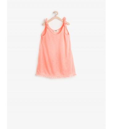 Koton Kız Çocuk Fiyonk Detaylı Elbise Mercan 6YKG47758BM402