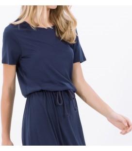 Koton Kadın Kuşaklı Maxi Elbise Lacivert 6KAL81468JK745