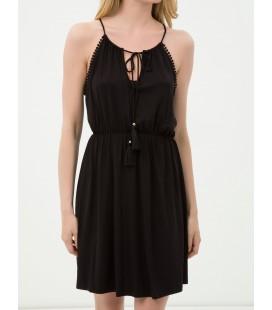Koton Kadın Yaka Detaylı Elbise Siyah 6YAK88404BK999