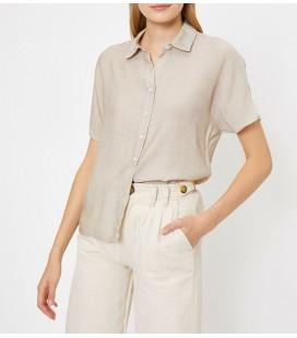 Koton Kadın Klasik Yaka Gömlek Yeşil Çizgili 8YAK62165CW15K