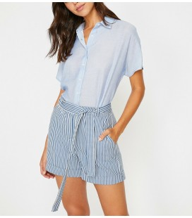 Koton Kadın Klasik Yaka Gömlek Lacivert Çizgili 8YAK62165CW55M