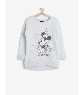 Koton Kız Çocuk Kız Çocuk Minnie Baskılı Sweatshirt Gri 6KKG19474TK023