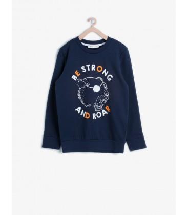 Koton Erkek Çocuk Yazı Baskılı Sweatshirt Lacivert 6KKB16917GK720
