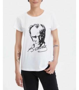 Defacto Kadın Beyaz Atatürk Baskılı Kısa Kollu T-Shirt L3664AZ