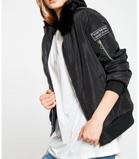 Koton Kadın Amblem Detaylı Mont - Siyah 8KAL26340JW999