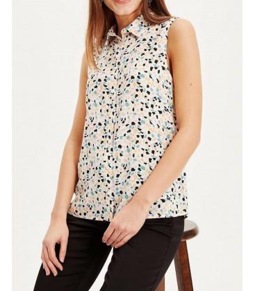 Defacto Kadın Ekru Desenli Kolsuz Gömlek K4668AZ