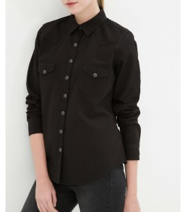 Koton Kadın Siyah Bayan Cep Detaylı Gömlek 6KAK68608OW999