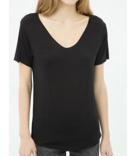 Koton Kadın Oyuk Yaka T-Shirt - Siyah 6YAL11079JK999