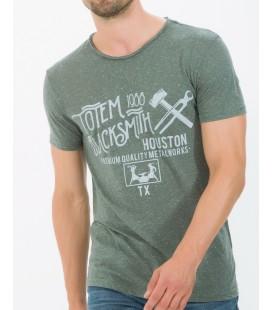Koton Erkek Grafik Basklı T-Shirt - Yeşil 6KAM11641LK01A