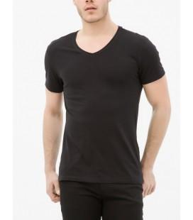 Koton Erkek V Yaka T-Shirt - Siyah 6KAM12138LK999