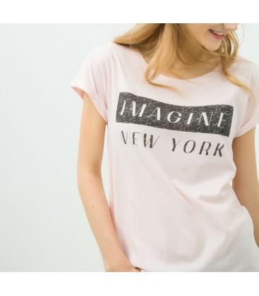 Koton Kadın Baskılı T-Shirt - Gül 6KAL11339OK250