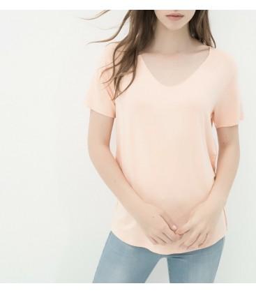 Koton Kadın Oyuk Yaka T-Shirt - Bej 6YAL11079JK088