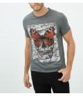 Koton Erkek Grafik Baskılı T-Shirt - Antrasit 6KAM11652LK045