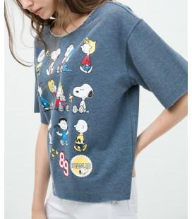 Koton Kadın Baskılı T-Shirt - İndigo 6KAL11522JK740