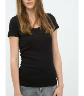 Koton Kadın Oyuk Yaka T-Shirt - Siyah 6KTK12085SK999