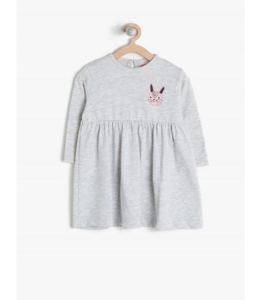 Koton Kids Rahat Kesim, Uzun Kollu, Desenli Elbise  7KMG89354OK023