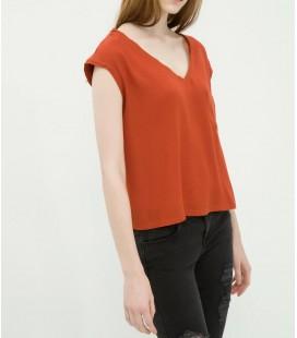Koton Kadın V Yaka T-Shirt - Terracotta 6YAL11761JW996