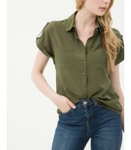Koton Kadın Cep Detaylı Gömlek - Haki 6YAK62846UW890