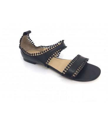 İnci Siyah Kadın Sandalet Püskül Detaylı